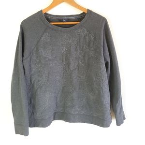 Lands End grey embroidered sweater